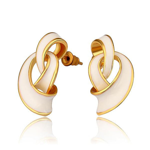 18K Gold Abstract Intertwined Ivory Drop Down Earrings Made with Swarovksi Elements - rubiquejewelry.com
