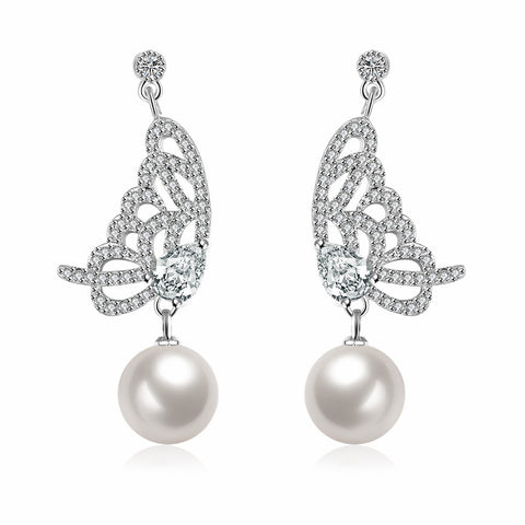 Cultured Pearl Dangling Butterfly Earrings - rubiquejewelry.com
