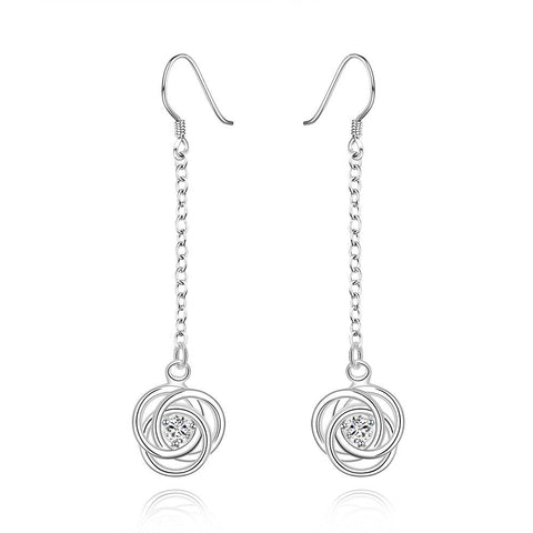 Sterling Silver Drop Crystal Stone Circle Earring - rubiquejewelry.com