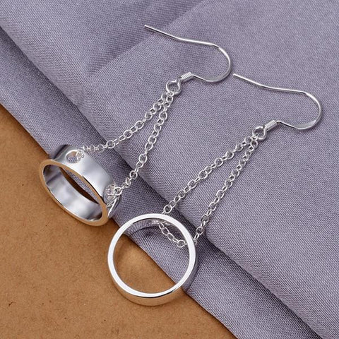 Sterling Silver Drop Hollow Circular Earring - rubiquejewelry.com
