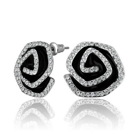 18K White Gold Angle Swirls Studs Made with Swarovksi Elements - rubiquejewelry.com
