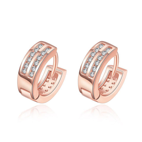 Rose Gold Plated Crystal Lined Mini Hoop Earrings - rubiquejewelry.com