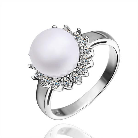 White Gold Plated Cultured Pearl Clover Ring - rubiquejewelry.com