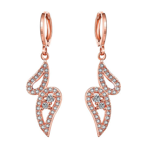 Rose Gold Plated Butterfly Drop Down Earrings - rubiquejewelry.com