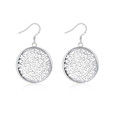 Sterling Silver Laser Cut Circular Emblem Drop Earring - rubiquejewelry.com