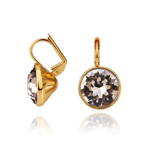 18K Gold Stud Earrings with Crystal Center Made with Swarovksi Elements - rubiquejewelry.com