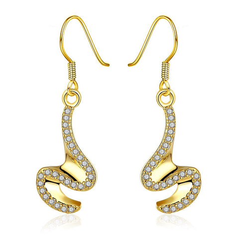 Gold Plated Abstract Intertwined Curved Earrings - rubiquejewelry.com