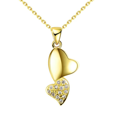 Gold Plated Dangling Hearts Necklace - rubiquejewelry.com