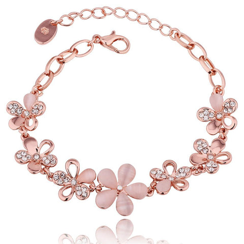 18K Rose Gold Floral Petals Bracelet with Swarovski Elements - rubiquejewelry.com