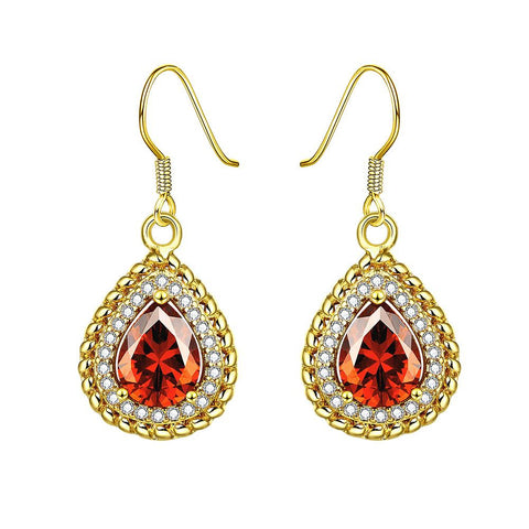Gold Plated Ruby Gem Encrusted Drop Downs - rubiquejewelry.com