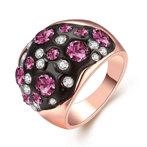 Rose Gold Multi-Pink Stone Ring - rubiquejewelry.com