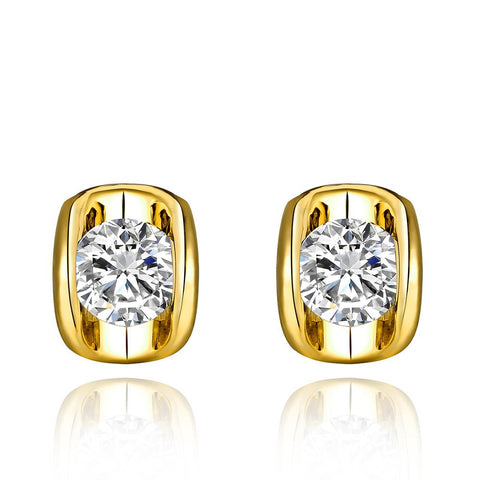 18K Gold Stud Earrings with Swarovski Jewel Made with Swarovksi Elements - rubiquejewelry.com