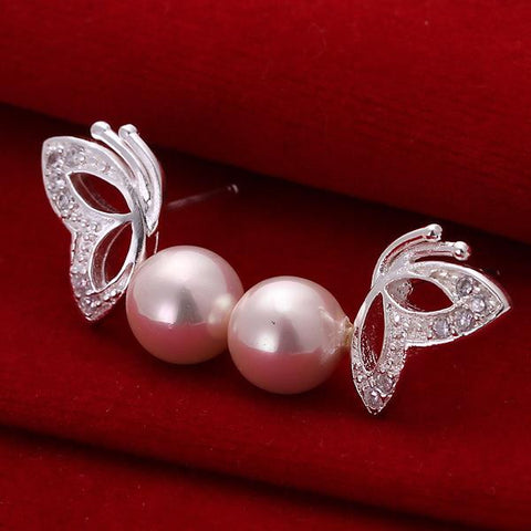 Sterling Silver Wings & Coral Pearl Earring - rubiquejewelry.com