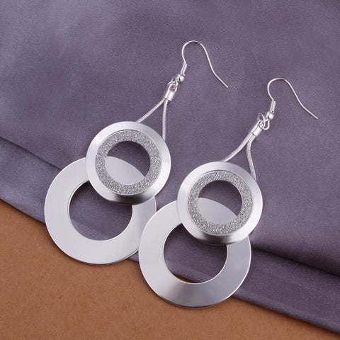 Sterling Silver Duo-Circular Drop Earring - rubiquejewelry.com