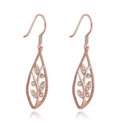 Rose Gold Plated Olive Branch Drop Down Earrings - rubiquejewelry.com
