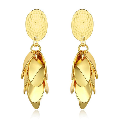 18K Gold Overlayering Leafes Drop Down Earrings Made with Swarovksi Elements - rubiquejewelry.com
