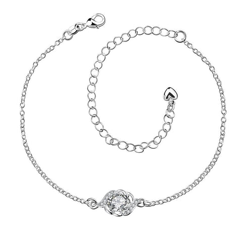 Crystal Stone Circular Gem Petite Anklet - rubiquejewelry.com