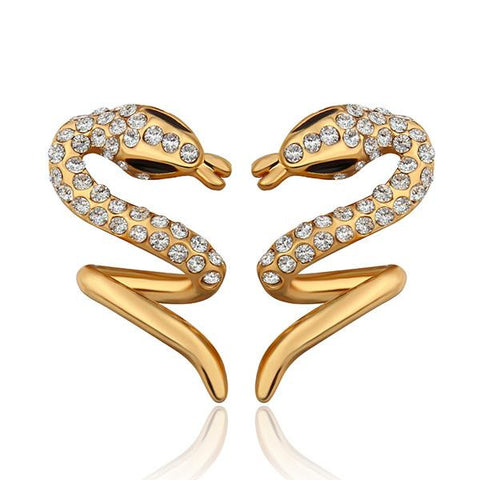 18K Gold Spiral Slithering Snake Drop Down Earrings Made with Swarovksi Elements - rubiquejewelry.com