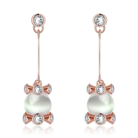 18K Rose Gold Drop Down Earrings with Pearl Center Made with Swarovksi Elements - rubiquejewelry.com
