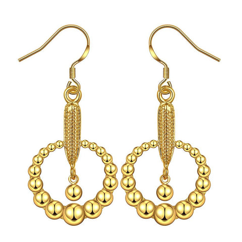 18K Gold Drop Down Earrings & Brass Beads Made with Swarovksi Elements - rubiquejewelry.com