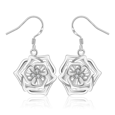 Sterling Silver Blossoming Floral Drop Earring - rubiquejewelry.com