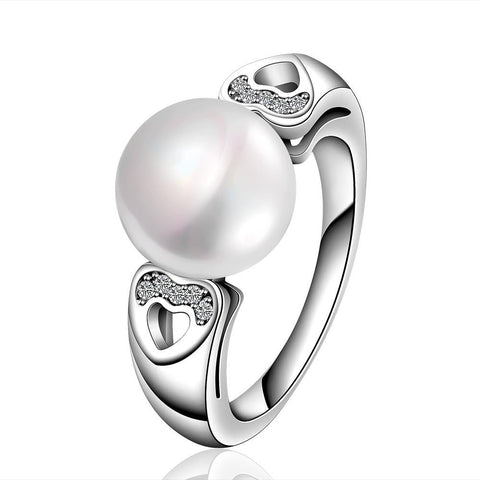 White Gold Plated Cultured Pearl Hearts Infused Ring - rubiquejewelry.com