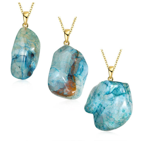 Aquamarine Inspired Natural Agate Necklace - rubiquejewelry.com