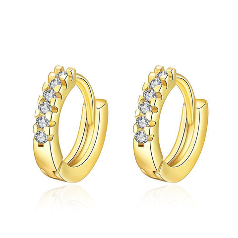 Gold Plated Petite Jewels Covering Hoop Earrings - rubiquejewelry.com