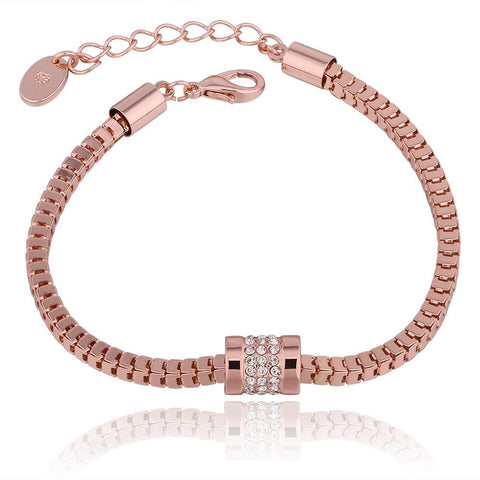 18K Rose Gold Chained Bracelet with Swarovski Elements - rubiquejewelry.com