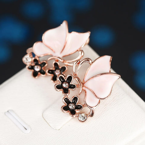 18K Rose Gold Ivory Wings Stud Earrings Made with Swarovksi Elements - rubiquejewelry.com