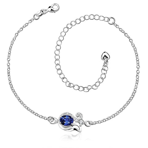 Mock Sapphire Swirl Pendant Anklet - rubiquejewelry.com