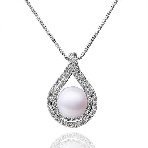 White Gold Plated Curved Cultured Pearl Emblem Necklace - rubiquejewelry.com