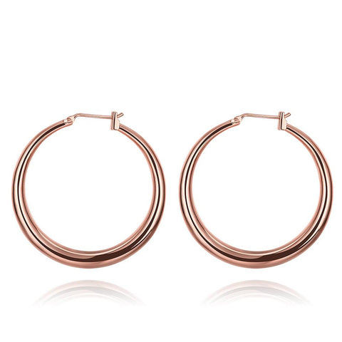 Rose Gold Plated Skinny Tube Hoop Earrings - rubiquejewelry.com