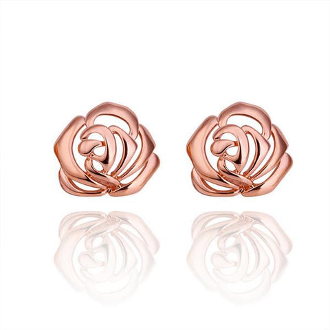 18K Rose Gold Hollow Floral Stud Earrings Made with Swarovksi Elements - rubiquejewelry.com