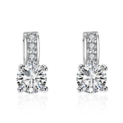 Triple Stone Crystal Pave with Diamond Simulated Studs - rubiquejewelry.com