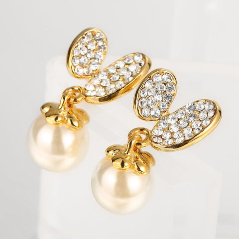18K Gold Drop Down Earrings with Pearl Made with Swarovksi Elements - rubiquejewelry.com