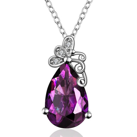 Large Purple Citrine Gem Butterfly Insert Necklace made with Swarovski Elements - rubiquejewelry.com