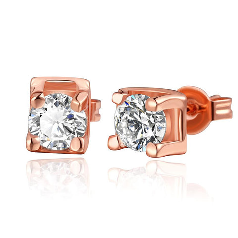 18K Rose Gold Classic Stud Earrings with Crystal Gem Made with Swarovksi Elements - rubiquejewelry.com