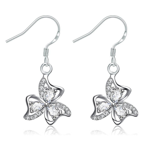 Crystal Jewels Trio-Floral Petals Drop Earrings - rubiquejewelry.com