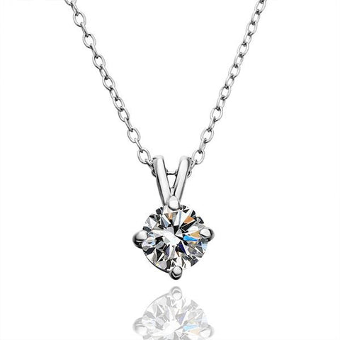 White Gold Plated Classic Wedding Diamond Drop Necklace - rubiquejewelry.com