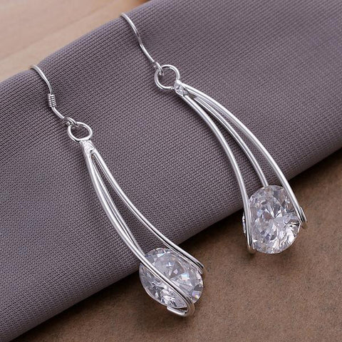 Sterling Silver Drop Crystal Earring - rubiquejewelry.com