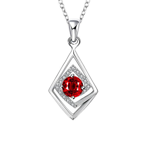 Diamond Shaped Ruby Red Drop Necklace - rubiquejewelry.com