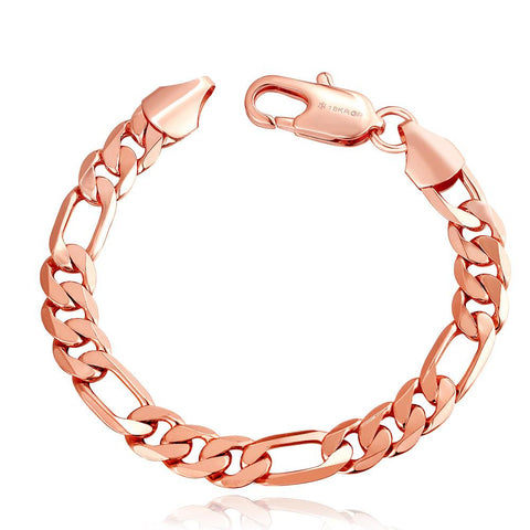 18K Rose Gold Classic Roman Bracelet with Swarovski Elements - rubiquejewelry.com