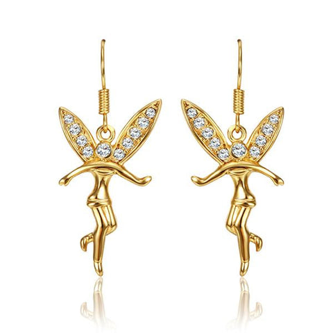 18K Gold Flying Angels Dangling Earrings Made with Swarovksi Elements - rubiquejewelry.com
