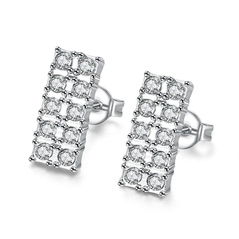 18K White GP Geometric Simulated Diamond Studded - rubiquejewelry.com