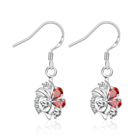 Petite Spiral Ruby Red Drop Earrings - rubiquejewelry.com