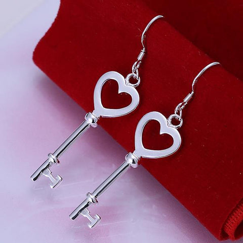 Sterling Silver Heart Shaped Keychain Earring - rubiquejewelry.com
