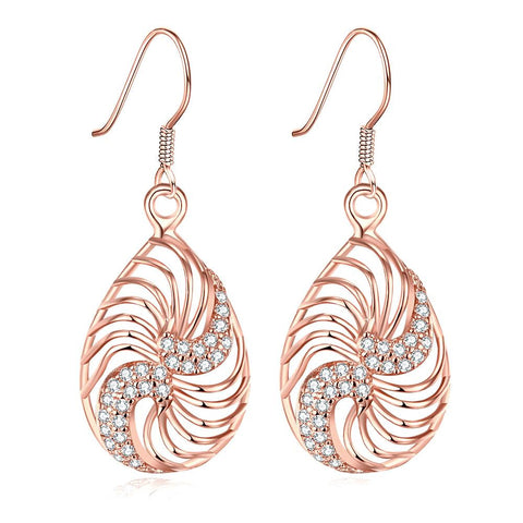 Rose Gold Plated Bling Curves Drop Down Earrings - rubiquejewelry.com