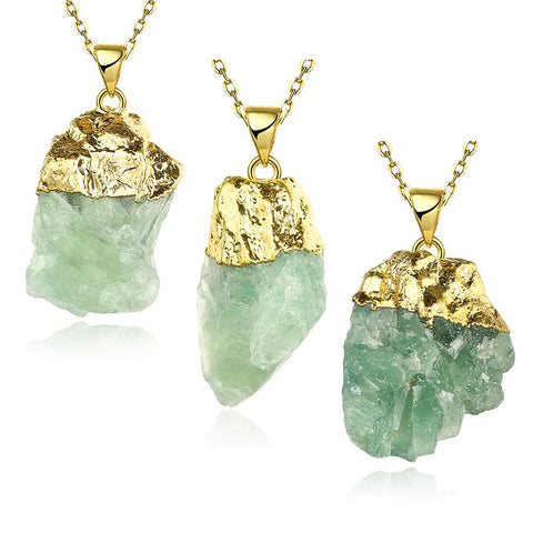 Emerald Nugget Natural Crystal Necklace - rubiquejewelry.com