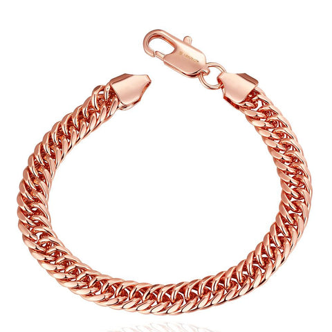18K Rose Gold Classic Chain Bracelet with Swarovski Elements - rubiquejewelry.com